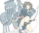 1girl arrow_in_mouth black_skirt brown_eyes brown_hair cannon commentary_request hachimaki hair_ribbon headband holding holding_sword holding_weapon ise_(kantai_collection) kantai_collection katana looking_to_the_side machinery mouth_hold ninimo_nimo plaid plaid_skirt ponytail remodel_(kantai_collection) ribbon rigging sandals sarashi short_hair simple_background skirt solo squatting sword turret weapon