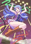 bangs blue_hair blunt_bangs boots confetti idol jump jumping kannagi knee_boots long_hair microphone miniskirt nagi neon_lights panties skirt stage thighs underwear yonezawa_mao
