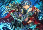 1boy 1girl armor blue_hair bridal_gauntlets brown_hair butterfly cape couple dutch_angle elbow_gloves gloves green_eyes highres incipient_kiss jewelry jizero night original signature star tears tree yellow_eyes