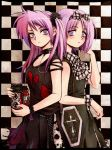 back-to-back bag bare_shoulders blush bow camera chain chains checkered choker coffin collarbone cross dress flat_chest frown gothic_lolita hair_bow hiiragi_kagami hiiragi_tsukasa lolita_fashion lucky_star messiah messiah_cage multiple_girls mystic_cage purple_eyes purple_hair purse short_hair siblings sisters standing tareme torn_clothes tsurime twin-lens_reflex_camera twins twintails violet_eyes