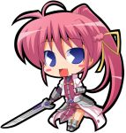armor blue_eyes boots chibi hair_ribbon hair_ribbons levantine long_hair lowres mahou_shoujo_lyrical_nanoha mahou_shoujo_lyrical_nanoha_a's mahou_shoujo_lyrical_nanoha_a's pac-man_eyes pacman_eyes pink_hair ponytail ribbon ribbons signum smile suntail super_deformed sword very_long_hair weapon