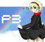 android blonde_hair blue_eyes dress dress_lift from_behind fukakiri_hanebito hairband lineart looking_back persona persona_3 rainbow short_hair solo thighhighs white_legwear zettai_ryouiki zoom_layer