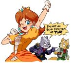 1girl 2boys angry arm_up blue_eyes clenched_teeth crown dress earrings english flipped_hair flower_earrings fox fox_mccloud gloves jewelry looking_at_viewer mario_(series) multiple_boys nemurism nintendo orange_dress pointing princess_daisy puffy_short_sleeves puffy_sleeves scouter short_hair short_sleeves simple_background star_fox super_mario_bros. super_smash_bros. sweatdrop teeth upper_body white_background white_gloves wolf wolf_o'donnell