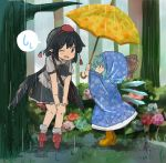 2girls black_hair blue_hair blush boots cirno flower forest geta kototoki multiple_girls nature one_eye_closed pointy_ears rain raincoat rubber_boots shameimaru_aya short_hair sketch smile speech_bubble touhou umbrella