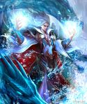 blue_eyes cape dragon droplets hands_up highres kei1115 long_hair magic monster official_art shingoku_no_valhalla_gate standing water watermark white_cape white_hair wizard