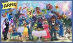6+boys 6+girls arms_(game) barq bow bowtie byte_(arms) championship_belt cobushii_(arms) commentary_request copyright_name dark_skin dna_man_(arms) dr._coyle dress everyone fireworks flag flexing formal hedlok highres ishikawa_masaaki kid_cobra lola_pop looking_at_viewer master_mummy_(arms) max_brass mecha mechanica_(arms) min_min_(arms) misango multiple_boys multiple_girls night ninjara_(arms) nintendo official_art pompadour pose ribbon_girl_(arms) robot sitting smile spring_man_(arms) suit the_cell tuxedo twintelle_(arms)
