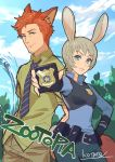 1boy 1girl animal_ears belt blue_eyes blue_neckwear blue_pants blue_shirt blue_sky bulletproof_vest closed_mouth clouds cloudy_sky commentary_request contrapposto day fox_ears fox_tail grey_hair hand_on_hip highres holding humanization judy_hopps kotatsu_(g-rough) necktie nick_wilde outdoors pants police police_badge police_uniform policewoman pouch rabbit_ears redhead shirt short_hair signature sky smile tail uniform vest zootopia