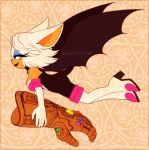 1girl animal_ears artist_name bare_shoulders bat_ears bat_girl bat_tail bat_wings bodysuit boots breasts choker cleavage closed_mouth commentary crossover elbow_gloves english_commentary eyelashes floating_hair flying from_side full_body furry gem gloves green_eyes half-closed_eyes high_heels highres holding infinity_gauntlet lips lipstick looking_afar makeup marvel medium_hair red_lips rouge_the_bat smile solo sonic_the_hedgehog sonya_sapphire tail thigh-highs thigh_boots watermark white_hair wings