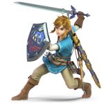 1boy 3d absurdres blonde_hair blue_eyes earrings gloves highres holding holding_sword holding_weapon huge_filesize jewelry link male_focus master_sword official_art pointy_ears shield solo super_smash_bros. super_smash_bros_ultimate sword the_legend_of_zelda the_legend_of_zelda:_breath_of_the_wild triforce tunic weapon