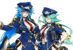 2girls belt black_choker blue_hair blue_hat blue_jacket blue_skirt breasts bright_pupils choker collared_shirt cowboy_shot gloves hair_between_eyes hair_over_one_eye hand_on_hip hat huge_breasts jacket large_breasts long_hair long_sleeves looking_at_viewer multiple_girls necktie one_eye_covered original police police_hat police_uniform policewoman ponytail pouch red_eyes red_neckwear sharp_teeth shirt simple_background skirt skj teeth twintails uniform very_long_hair white_background white_gloves white_shirt wing_collar yellow_eyes