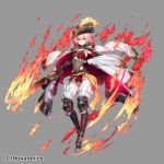 1girl aura boots breasts cape closed_mouth copyright_request covered_navel fire full_body grey_background gun hat holding holding_gun holding_weapon kageshio_(276006) knee_boots long_hair looking_at_viewer multicolored multicolored_cape multicolored_clothes official_art pink_hair red_cape red_eyes simple_background small_breasts solo tricorne watermark weapon white_cape