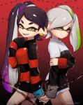 alternate_costume aori_(splatoon) barbed_wire black_hair closed_mouth cousins domino_mask earrings fangs gradient_hair green_hair hand_holding hotaru_(splatoon) japanese_clothes jewelry kimono long_sleeves looking_at_viewer mask mole mole_under_eye multicolored_hair open_mouth ponytail puchiman purple_hair side_ponytail silver_hair sleeves_past_wrists smile splatoon splatoon_1 sweater symbol-shaped_pupils tentacle_hair two-tone_hair