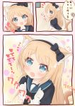 1girl 3koma animal_ears blonde_hair blue_eyes blue_sailor_collar cat_ears cat_tail comic dress gloves hat highres jervis_(kantai_collection) kantai_collection long_hair looking_at_viewer open_mouth ridy_(ri_sui) sailor_collar sailor_dress sailor_hat short_sleeves smile tail translation_request white_dress white_gloves white_hat