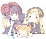 2girls :t =_= abigail_williams_(fate/grand_order) bangs black_bow black_dress black_hat blonde_hair blue_eyes bow butter closed_eyes closed_mouth commentary dress eating eyebrows_visible_through_hair fate/grand_order fate_(series) food food_on_face forehead fork hair_bow hair_ornament hat holding holding_fork holding_knife katsushika_hokusai_(fate/grand_order) knife long_hair long_sleeves multiple_girls nanateru orange_bow pancake parted_bangs plate purple_hair sleeves_past_fingers sleeves_past_wrists stack_of_pancakes syrup white_background