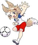 1girl :d animal_ears ball blue_eyes goggles goggles_on_head hand_up kemono_friends looking_at_viewer mascot open_mouth raglan_sleeves red_shorts roonhee round_teeth shoes short_sleeves shorts smile soccer_ball soccer_uniform socks solo sportswear standing standing_on_one_leg tail teeth white_legwear world_cup