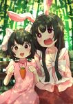 2girls :3 :d animal_ears arms_at_sides bamboo bamboo_forest bangs bench black_hair blouse blurry bow carrot_necklace cat_ears commentary_request dappled_sunlight day depth_of_field dress eyebrows_visible_through_hair facing_viewer fake_animal_ears fang forest highres hime_cut houraisan_kaguya inaba_tewi japanese_clothes long_hair looking_up multiple_girls nature open_mouth outdoors paw_pose pink_blouse pink_dress puffy_short_sleeves puffy_sleeves rabbit_ears red_eyes red_skirt short_hair short_sleeves side-by-side sidelocks sitting skirt smile sunlight touhou tsukimirin upper_body white_bow
