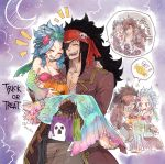 1boy 1girl :d aqua_nails blue_hair breasts brown_gloves candy carrying cleavage closed_eyes cold collarbone couple detached_sleeves eyepatch fairy_tail fingerless_gloves food gajeel_redfox gloves grin halloween halloween_costume headband levy_mcgarden long_hair long_skirt medium_breasts mermaid_costume nail_polish open_mouth pirate_costume princess_carry red_bikini_top rusky sitting skirt smile squatting starfish_hair_ornament striped_bikini_top toenail_polish trick_or_treat