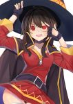 1girl belt black_belt black_gloves cape chuunibyou collar dress fingerless_gloves gloves hat highres holding holding_staff kono_subarashii_sekai_ni_shukufuku_wo! looking_at_viewer megumin pose red_dress red_eyes short_hair_with_long_locks simple_background solo staff white_background witch_hat xhunzei
