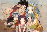 2boys 3girls :d black_hairband blue_hair blush boots brown_eyes brown_footwear brown_gloves brown_pants brown_shorts closed_eyes collarbone ear_piercing fairy_tail fingerless_gloves gajeel_redfox gloves green_hairband grey_pants grey_shirt grin hair_ribbon hairband hand_on_another's_hip headband levy_mcgarden long_hair looking_at_viewer multiple_boys multiple_girls open_mouth pantherlily pants piercing red_shirt ribbon rusky shirt short_shorts short_sleeves shorts sitting sleeveless sleeveless_shirt smile white_shirt yellow_ribbon yellow_shirt