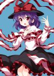 >:o 1girl black_hat black_skirt blue_background bow capelet commentary_request feet_out_of_frame frilled_capelet frilled_shawl frills hands_up hat hat_bow hat_ribbon highres long_sleeves looking_at_viewer nagae_iku open_mouth purple_hair red_bow red_eyes red_ribbon ribbon ruu_(tksymkw) shawl simple_background skirt solo touhou v-shaped_eyebrows white_capelet wing_collar