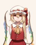 1girl absurdres arms_behind_back ascot beige_background blonde_hair commentary crystal english_commentary eyebrows_visible_through_hair flandre_scarlet hair_between_eyes hat hat_ribbon highres long_hair looking_at_viewer mob_cap one_side_up red_eyes red_ribbon red_skirt red_vest ribbon shan shirt short_sleeves simple_background skirt smile solo touhou upper_body vest white_hat white_shirt wings yellow_neckwear