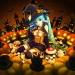 1girl bangs bat black_gloves black_hat black_legwear black_skirt blue_eyes blue_hair bow breasts cake elbow_gloves eyebrows_visible_through_hair food frilled_skirt frills full_body gloves gradient_hair green_hair halloween halloween_costume hat hat_bow hatsune_miku head_tilt highres leg_ribbon long_hair medium_breasts miniskirt multicolored_hair necktie open_mouth orange_bow orange_ribbon pumpkin red_neckwear ribbon sitting skirt solo sugimasa thigh-highs twintails two-tone_hair very_long_hair vocaloid witch_hat zettai_ryouiki