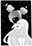 1girl amagaeru_(amapippi052525) braid cosmog crying dress gen_7_pokemon greyscale highres lillie_(pokemon) long_hair monochrome open_mouth pokemon pokemon_(creature) pokemon_(game) pokemon_sm sleeveless sleeveless_dress tears twin_braids