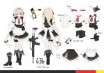 1girl apron bangs black_footwear blonde_hair blue_eyes blush boots braid breasts character_name closed_mouth corset cropped_jacket dress eyebrows_visible_through_hair g36_(girls_frontline) german_flag girls_frontline gloves gradient_hair hair_between_eyes hair_ornament hand_on_hip highres knee_boots leg_garter long_hair looking_at_viewer maid maid_apron maid_headdress medium_breasts multicolored_hair multiple_views neck_ribbon pouch puffy_short_sleeves puffy_sleeves red_ribbon ribbon short_sleeves shuzi sidelocks simple_background single_braid sleeveless_jacket solo thighs tsurime very_long_hair white_gloves
