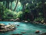 commentary_request day forest highres light_rays nature no_humans official_art outdoors river rock scenery seisen_cerberus tree watermark z.dk