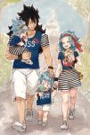 2boys 2girls black_hair blue_hair blue_shirt blue_sky closed closed_eyes day eyes fairy_tail flower food gajeel_redfox grin hair_flower hair_ornament hand_holding hand_on_another's_head headband holding holding_food holding_person ice_cream levy_mcgarden long_hair miniskirt multiple_boys multiple_girls nose_piercing open_mouth outdoors piercing rusky shirt shoes short_sleeves shorts skirt sky smile sneakers striped striped_skirt tongue tongue_out tree white_footwear white_shorts wristband yellow_flower