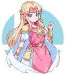 1girl belt blonde_hair blue_eyes blush bracelet breasts cleavage closed_mouth collarbone commentary dress earrings gown highres jewelry long_hair looking_at_viewer nazonazo_(nazonazot) necklace pink_dress pointy_ears princess_zelda smile solo super_smash_bros. the_legend_of_zelda the_legend_of_zelda:_a_link_between_worlds tiara
