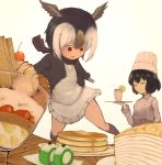 2girls :d apron atlantic_puffin_(kemono_friends) bangs bendy_straw bird_wings black_hair black_jacket black_legwear black_scarf blazer blush bob_cut butter chef chef_hat chef_uniform cherry closed_eyes commentary_request cup double-breasted drinking_glass drinking_straw food frilled_skirt frills fruit furrowed_eyebrows hair_between_eyes hat head_wings highres holding holding_tray jacket kaban_(kemono_friends) kemono_friends kneehighs long_sleeves miniskirt multicolored_hair multiple_girls open_mouth pancake parfait parted_bangs raised_eyebrows red_eyes scarf short_hair simple_background skirt smile stack_of_pancakes strawberry suginakara_(user_ehfp8355 sweater_vest syrup tray waist_apron wavy_hair white_background white_hair white_skirt wings wooden_table