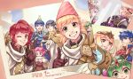 5boys 6+girls alfonse_(fire_emblem) alm_(fire_emblem) anna_(fire_emblem) armor black_gloves blonde_hair blue_eyes blue_hair bow brown_gloves cake chiki circlet closed_eyes crown cup d0o00o0b eating fa facial_mark feh_(fire_emblem_heroes) fingerless_gloves fire_emblem fire_emblem:_fuuin_no_tsurugi fire_emblem:_monshou_no_nazo fire_emblem:_souen_no_kiseki fire_emblem_echoes:_mou_hitori_no_eiyuuou fire_emblem_heroes fire_emblem_if fjorm_(fire_emblem_heroes) food forehead_mark fork from_side gloves green_eyes green_hair grey_hair grin hat headband holding ike long_hair mamkute marks_(fire_emblem_if) marth multiple_boys multiple_girls one_eye_closed open_mouth party_hat photo_(object) ponytail purple_hair red_bow red_eyes redhead sharena short_hair smile teacup tiara veronica_(fire_emblem)