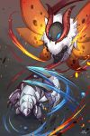 attack battle claws fire flying foreshortening from_above full_body fur gen_5_pokemon gen_7_pokemon golisopod highres horns inosuke_(monstruo) looking_at_another motion_blur no_humans pokemon pokemon_(creature) standing volcarona water wings