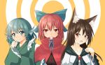 :d animal_ears aqua_eyes aqua_hair bow brown_hair capelet drill_hair fang frilled_kimono frilled_sleeves frills grass_root_youkai_network hair_bow head_fins highres imaizumi_kagerou isetan_mashira japanese_clothes kimono long_hair open_mouth red_eyes redhead sekibanki short_hair simple_background smile touhou twin_drills wakasagihime wolf_ears