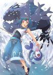 1girl blue_eyes blue_hair fishing_rod freckles fu-ta pokemon pokemon_(game) pokemon_sm popplio sandals school_swimsuit sleeveless suiren_(pokemon) swimsuit swimwear wishiwashi