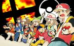 4boys 4girls backpack bag bandanna blue_(pokemon) calme_(pokemon) eyewear_on_headwear gold_(pokemon) haruka_(pokemon) hat kneeling kouki_(pokemon) lineup mizuki_(pokemon) multiple_boys multiple_girls one_knee poke_ball poke_ball_(generic) pokemon pokemon_(game) pokemon_bw pokemon_dppt pokemon_frlg pokemon_gsc pokemon_rse pokemon_usum pokemon_xy red_(pokemon) red_(pokemon_frlg) shorts smash_ball smile sun_hat super_smash_bros. tank_top tofu_(tttto_f) touko_(pokemon)