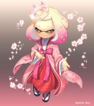 1girl alternate_costume blush bow crown domino_mask floral_print flower full_body gradient_hair half-closed_eyes highres hime_(splatoon) japanese_clothes kimono long_sleeves mask mini_crown mole mole_under_mouth multicolored_hair petals pink_hair puchiman slippers smile splatoon splatoon_2 symbol-shaped_pupils tentacle_hair twitter_username two-tone_hair white_hair yellow_eyes