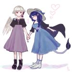 >_< 2girls alternate_costume alternate_headwear blue_bow blue_dress blue_hair blush bow braid commentary doremy_sweet dress ear_blush feathered_wings flower grey_hair grey_wings hair_flower hair_ornament hand_holding hat hat_bow heart highres katari kishin_sagume long_hair multiple_girls pink_flower purple_dress red_eyes short_sleeves single_wing sketch star tail touhou white_background wings yuri