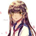 1girl alternate_costume atobesakunolove blue_sailor_collar brown_eyes brown_hair character_name cherry_blossoms commentary_request dark_skin hair_between_eyes hair_tubes highres long_hair looking_at_viewer neckerchief overwatch parted_lips petals pharah_(overwatch) red_neckwear sailor_collar school_uniform serafuku shirt solo upper_body white_shirt