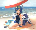 1girl absurdres albreo beach blue_eyes blue_hair can collarbone eyewear_on_head flip-flops hands_on_own_hip highres horizon looking_at_viewer ocean parasol petite poke_ball pokemon pokemon_(creature) pokemon_(game) pokemon_sm popplio sandals school_swimsuit short_hair smile soda_can suiren_(pokemon) swimsuit swimwear tagme towel umbrella