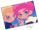 2boys afro blonde_hair blue_eyes deigo_(indigo2070) expressionless looking_at_viewer male_focus multiple_boys octarian octoling photo_(object) pink_hair self_shot simple_background splatoon splatoon_2 sweater v white_background yellow_eyes