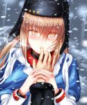 1girl blue_shawl blush brown_hair eyebrows_visible_through_hair finger_in_mouth fur_hat hair_between_eyes hair_ornament hairclip hat jacket kantai_collection long_hair looking_at_viewer papakha red_eyes red_shirt sabakuomoto scarf shawl shirt snow snowing star tashkent_(kantai_collection) torn_scarf twintails ushanka white_jacket white_scarf wings winter winter_clothes