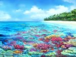 blue_sky clouds commentary_request coral coral_reef day fish forest highres island nature no_humans official_art outdoors scenery seisen_cerberus sky watermark z.dk