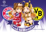 2girls :d ;d bikini blonde_hair blush borussia_dortmund breasts commentary drill_hair fc_bayern_munchen ge_xi large_breasts long_hair looking_at_viewer midriff multiple_girls navel one_eye_closed open_mouth personification puma_ag scarf smile stomach swimsuit uefa_champions_league violet_eyes yellow_eyes