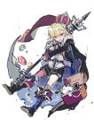 1boy belt black_cape black_footwear black_shorts blonde_hair boots box cape crown full_body holding holding_weapon ikeuchi_tanuma looking_at_viewer male_focus open_mouth original scarf shirt short_shorts shorts simple_background sketch solo violet_eyes weapon white_background white_shirt