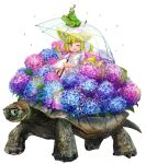 1girl ;d animal animal_ears blonde_hair blue_flower blush boots doitsuken fang flower fox_child_(doitsuken) fox_ears fox_tail frog glasses holding holding_umbrella looking_at_viewer on_animal one_eye_closed open_mouth original pink_flower purple_flower rain raincoat riding short_hair simple_background sitting smile snail solo tail tortoise transparent_umbrella turtle umbrella v water_drop white_background white_coat white_footwear yellow_eyes