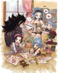 2boys 3girls :d black_hair black_shirt black_shorts blue_hair blush bookshelf breasts brown_legwear brown_nails brown_pants brown_shorts cleavage detached_sleeves eye_contact fairy_tail fang gajeel_redfox grey_legwear grin hand_on_another's_head headband heart holding holding_pen indian_style indoors levy_mcgarden long_hair looking_at_another multiple_boys multiple_girls nail_polish open_mouth overalls pantherlily pants pantyhose pen rusky shirt short_shorts short_sleeves shorts signature sitting sketch sketchbook sketching sleeveless small_breasts smile striped striped_shirt thigh-highs vertical-striped_shirt vertical_stripes very_long_hair white_legwear window wooden_floor zettai_ryouiki