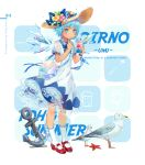 1girl alternate_costume anchor animal bag bird blue_bow blue_eyes blue_hair blue_nails blue_neckwear blue_ribbon blue_wings blush bow character_name cirno commentary contemporary dress ekita_xuan english english_commentary eyebrows_visible_through_hair flower food full_body hair_flower hair_ornament handbag hat hat_bow highres holding holding_food ice ice_wings kneehighs leaf mary_janes nail_polish neck_ribbon petticoat pink_flower puffy_short_sleeves puffy_sleeves red_footwear ribbon rope seagull see-through shaved_ice shell shoes short_hair short_sleeves solo standing starfish sun_hat tan tanned_cirno touhou translated white_background white_dress white_legwear wing_collar wings wrist_ribbon yellow_flower