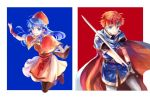 1boy 1girl armor blue_eyes blue_hair blush book cape couple dress fire_emblem fire_emblem:_fuuin_no_tsurugi gloves hat hetero jewelry kuzumosu lilina long_hair redhead roy_(fire_emblem) short_hair simple_background smile sword weapon